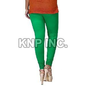 Green Cotton Lycra V-Cut Leggings