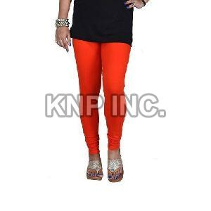 Orange Cotton Lycra Churidar Leggings