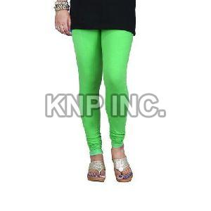Parrot Green Cotton Lycra V-Cut Leggings