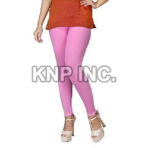 Pink Cotton Lycra Kali Ankle Length Leggings