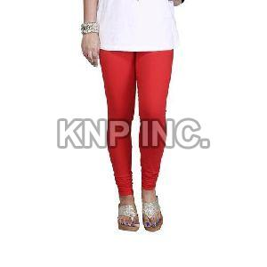 Red Cotton Lycra Churidar Leggings