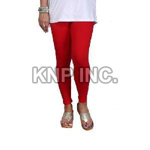 Red Cotton Lycra Kali Ankle Length Leggings
