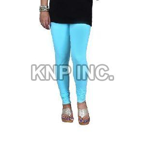 Sky Blue Cotton Lycra V-Cut Leggings