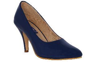 Blue Round Toe Heels