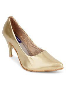 Golden Round Toe Heels