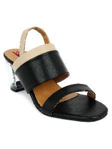 Ladies Black Transparent Heel Sandals