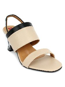 Ladies Creamy Transparent Heel Sandals