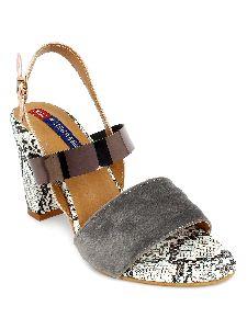 Ladies Grey Printed Heel Sandals