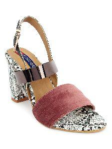 Ladies Pink Printed Heel Sandals