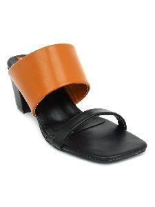Ladies Tan and Black Block Heel Sandals