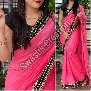 Vichitra Pink Bollywood Saree