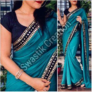 Vichitra Teal Bollywood Saree