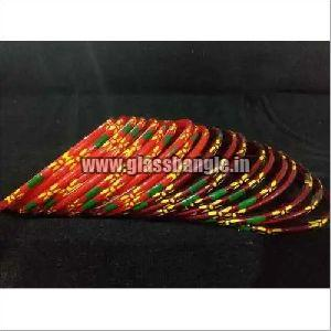 Flower Print Glass Bangles