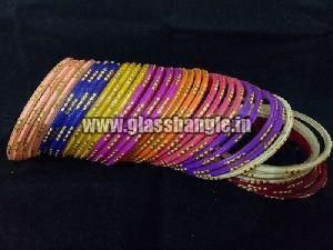 Golden Glitter Glass Bangles