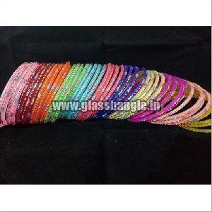 Silver Glitter Glass Bangles