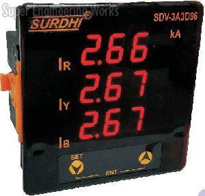 Three Phase Three Display Digital Ammeter