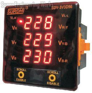 Three Phase Three Display Digital Voltmeter
