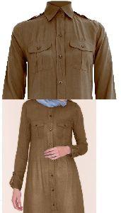 Brown Shirt Collar Abaya with Box Pleats