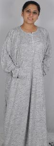 Cotton Knit Abaya with Front Zipper and Bat Sleeves