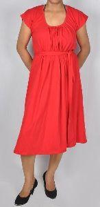 Dress with Lycra Belt and U-Collar