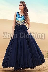 Navy Blue Taffeta Silk Digital Print Gown