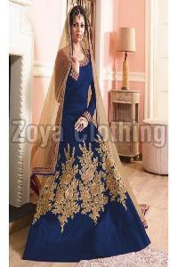 Poly Silk Machine Work Blue Long Suits