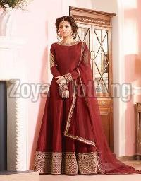 Poly Silk Machine Work Maroon Long Suits