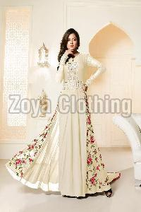 Poly Silk Machine Work White Long Suits