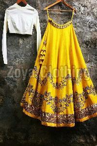 Poly Silk Zari Work Yellow Lehenga Choli