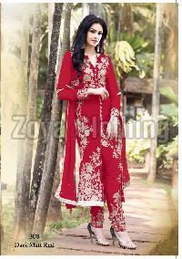 Straight Heavy Embroidered Red Long Suits