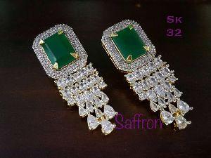 Zircon Work Stone Embedded Earrings