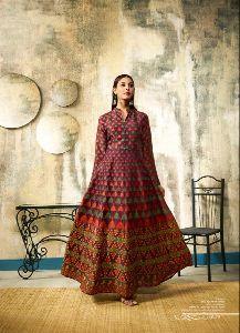 Chanderi Indo Western Gown