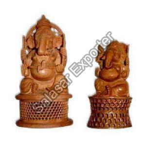 Wooden Jali Ganesh Statue
