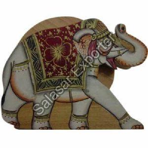 Wooden Elephant Coaster Set