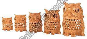 Wooden Jali Owl Set