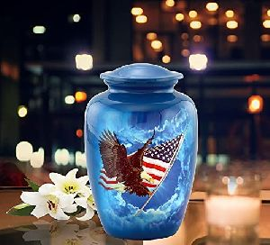 Immortal Memories American Flag Urn, American Flag with Eagle Cremation Urn for Ashes, American Fla