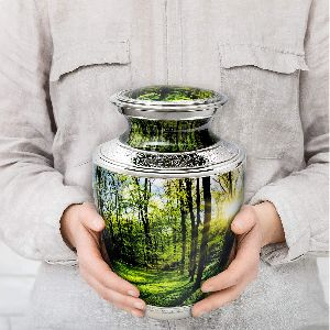 Peaceful Forest Urn. Cremation urns for Human Ashes Adult Male and Female. Decorative urns for Memor