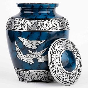 Silver Cremation Urn for Human Ashes - Adult Funeral Urn Handcrafted - Affordable Urn for Ashes - L