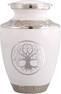 White Urn for Human Ashes Adult Size with Unique Silver Tree of Life Design