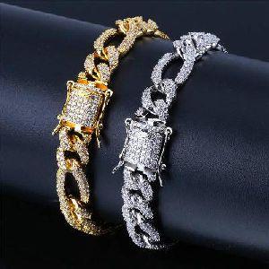 10.00 Carat Men Hip Hop Bracelet Craft In 14k White Gold