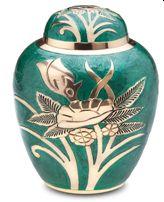 Emerald Rose Enameled Cremation Urn