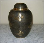 Large Brass Butterfly Cremation Urn