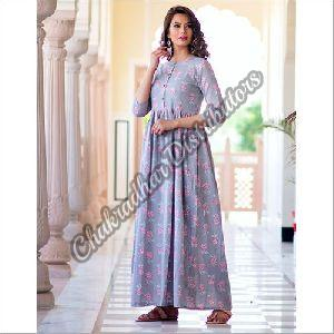 Lavender Pure Maslin Digital Print Gown