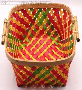 Square Side Handle Bamboo Basket