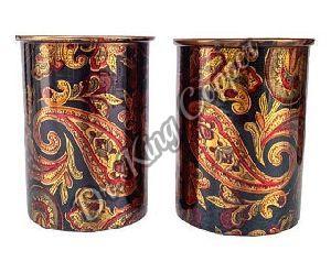 Copper Printed Glass Set