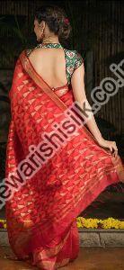 Cut Work Linen Saree