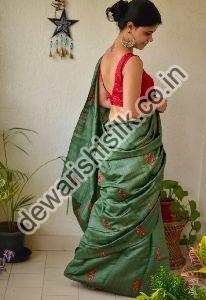 Tussar Ghicha Embroidered Saree