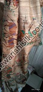 Tussar Ghicha Hand Painted Saree