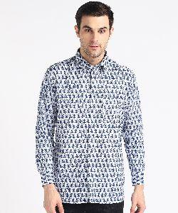 Mens Blue Kari Printed Full Sleeves Cotton Shirt
