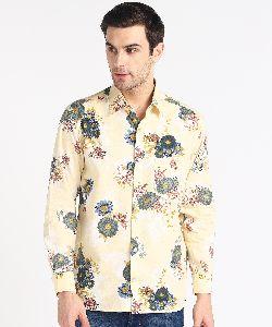 Mens Creamy Big Flower Print Full Sleeves Cotton Shirt